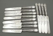 Set 12 Tifft & Whiting Coin Silver Tea Knives c1860 Julia Engraved Scenes