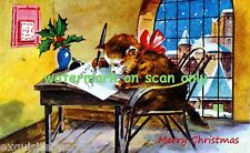 Antique Christmas Image~Kitty Cat Cats Writing Holiday Card~New Lge Note Cards