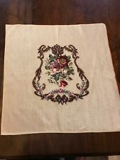 """Vintage Crewel Needlepoint Tapestry Finished Floral Flowers 26"""" x 25�"""