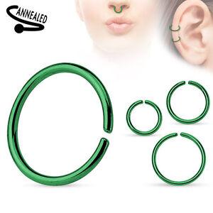 Titanium Annealed Steel Cartilage Septum Nose Hoop Ring Rook Daith Helix Tragus