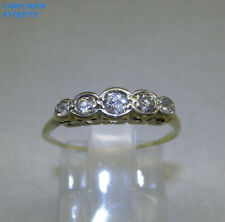 ART DECO DAINTY 0.24CT OLD CUT DIAMOND SOLID 18K FIVE STONE RING UK L 1/2 c 1925