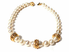 Bijou alliage doré collier perles fantaisies haute couture signé S necklace
