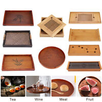 Retro Wood Serving Tray Tea Food Server Dishes Plate Wooden Fruit Plate 5 Sizes