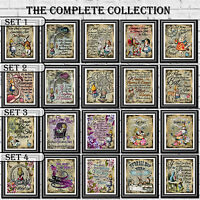 Alice In Wonderland Quotes Prints Vintage Sets Dictionary Page Wall Art Pictures