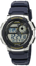 Casio Men's Digital 100m 10-Year Battery Silver/Blue Resin Watch AE1000W-2AV