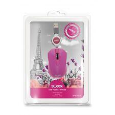 Maus Mouse Pc Laptop pink rosa Reise Notebook Kabel einziehbar Design Computer