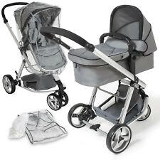 Poussette 3 en 1 d'enfants Combinée pliable combinable canne de voyage bébé gris