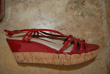 Red Patent Leather & Cork Footbed ANN TAYLOR Strappy Wedge Style Shoes 8 M