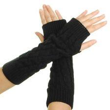 Women's Crochet Long Fingerless Gloves with Thumb Hole Black