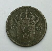 Dated : 1918 - Silver Coin - Sweden - 10 Ore Coin - Gustaf V