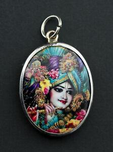 Medaille Krishna Om pendentif Dieu Hindou Talisman contre demons Magie 26844