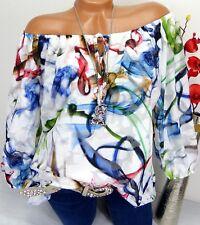 Bluse Carmen Italy Top Tunika Shirt Poncho  doppellagig Viskose Bunt 42 44 46