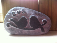 Love Birds carved stone, personalised w/ initials, perfect wedding anniversary