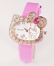 Hello Kitty Watch Gems Rhinestone Cartoon Kids Girls Fashion wrist Watch Pink