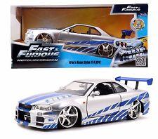 Jada Toys Fast & Furious 7 1:24 BRIAN'S 2002 NISSAN SKYLINE GT-R R34 Diecast Car