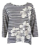 Fa M ou S High St Store Ladies M S Navy Blue & White Striped Floral Top