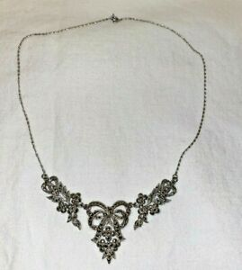 Vintage Silver Tone Marcasite Sphinx Style Statement Necklace Great Condition