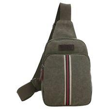Men's Retro canvas Vertical bar Messenger Bag?Army Green? H2B4