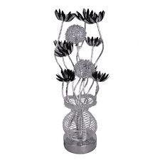 Modern Aluminium Silver  Black Flower  Vase Design Table Lamp Home Lighting