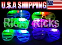 24 Light-Up Shutter Glasses LED Shades Sun Glasses Flashing Rock Wedding Party