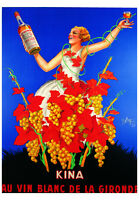 VINTAGE FRENCH WINE POSTER - Kina Lillet by Robys 27.5x39.5 Bar Den Art Print