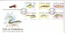 ZIMBABWE, 1994 FISH, 2ND SERIES, SG 864-69 , ON ILLUSTRATED FDC