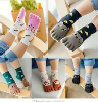 Toddler Baby Kids Girls Boy Cartoon Animal Five Fingers Anti Slip Cotton Socks