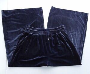 Madewell M Huston Stretch Velvet Crop Wide Leg Pant Deep Navy Drawstring K4383