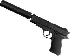 Softair Gun Airsoft Pistole + Schalldämpfer | 29633 Profi ABS | mit Munition