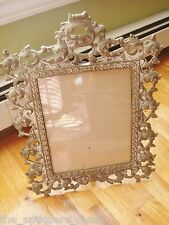"""Antique Brass engraved footed frame, 17"""" x 13""""[*finial]"""