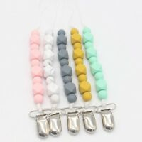 1X Pacifier Clip Silicone Teething Beads for Girls& Boys Teether Short Chain Top