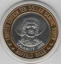 1994 Buffalo Bill's Jean NV Calamity Jane Bust .999 Fine Silver $10 Casino Token