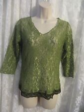 SURREALIST Green LACE Blouse  ¾ Sleeve Sheer Size 1 NWT  SEXY