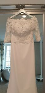 Enzoani wedding dress 14 Logan, with jacket and matching cathedral  lace veil.