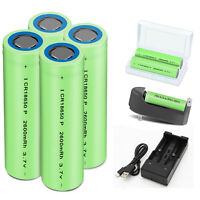 2600mAh 18650 Rechargeable Flat Top Battery For Flashlight + Case With Charger