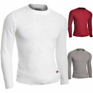 Mens Wool Jumper Thin Knit Long Sleeve Sweater Crew Neck Top Tight Slim Fit