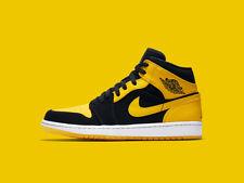 New Nike Air Jordan Retro 1 Mid Size 15 Reverse New Love Black Yellow 554724-071
