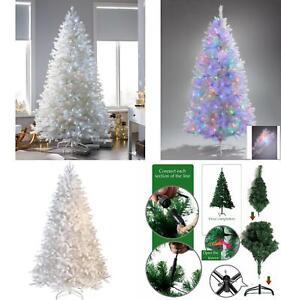 Pre-Lit Artificial Alaskan Pine White Christmas Tree Xmas Lights Up Decorations