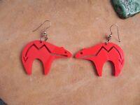 Red BEAR Shaped dangle Sterling Silver Earrings Santo Domingo