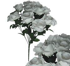 "White 12-Rose 20"" Bouquet Wedding Bridal Party Home Decor Artificial Silk Flower"