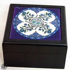 Schmuckbox schönes florales Motiv blau Bkumen Dose Box  Schmuck 1676