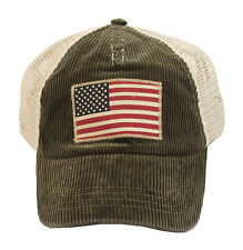 POLO RALPH LAUREN MENS UNISEX CORDUROY MESH USA FLAG PONY LOGO BASEBALL CAP HAT