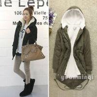 Winter Women Warm Fleece Zip Hooded Parka Overcoat Coat Long Jacket Short Blazer