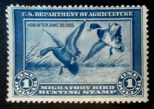 Buffalo Stamps:  Scott #RW1 Duck Stamp, Mint NG & F/VF, CV = $290 as OG