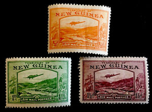 """New Guinea """"Bulolo Goldfields"""" 1939 x3 MINT stamps LH"""