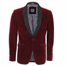 Mens Velvet Tuxedo Suit Jacket Black Shawl Lapel Blazer Smart Formal Dinner Coat Chest UK 50 EU 60 Maroon