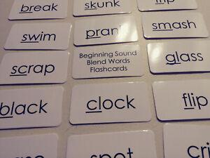23 Laminated Basic Beginning Sound Blend Words Flashcards. Black and White Readi