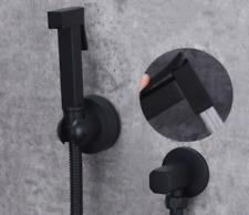 Black Toilet Bidet Faucet Handheld Shower Spray&Hose&Sunction Holder Valve Kit