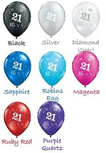 """21st Birthday Party Supplies """"21"""" printed around 28cm Latex Balloons 2 for $1.50"""