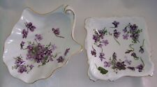 Hammersley VICTORIAN VIOLETS SHELL & Square DISH - England